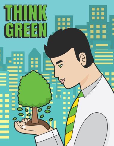 Denken Sie grünen Plakatvektor