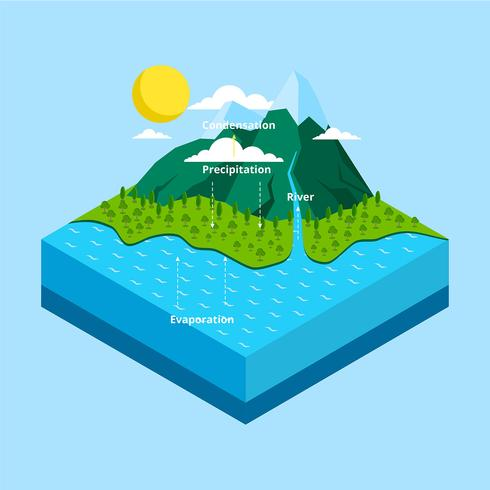 Water Cycle Infographic Isometric