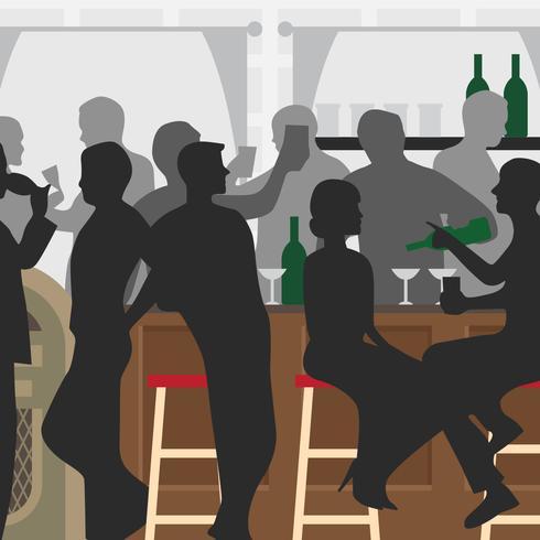 Ilustración de vector de barra lleno de gente