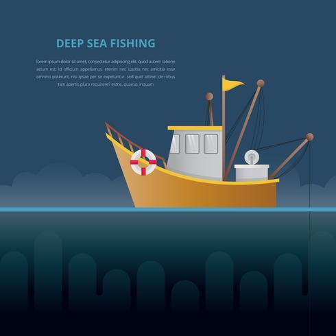Ilustração de pesca em alto mar. Barco de pesca.