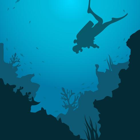 Silhouette of Scuba Diving Vector Illustration