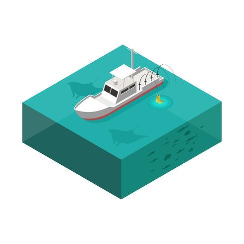 Vector isométrico del barco de la pesca en mar profundo