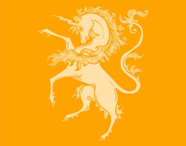 unicorn coat of arms vector