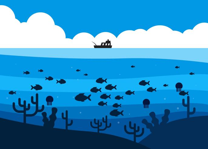Fish in Deep Sea Under the Fishing Boat Illustration