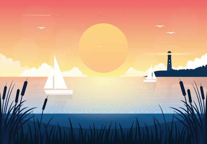 Vector Sunset Landscape Illustration - Download Free ...