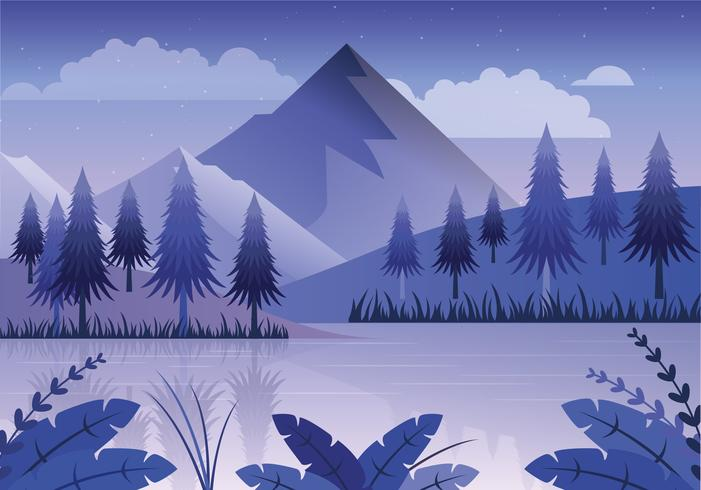 Vector Blue Landscape Illustration