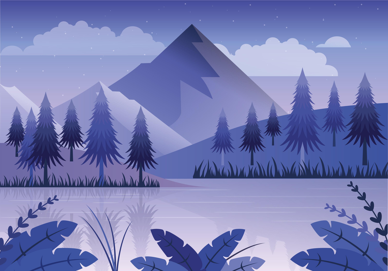 Landscape Illustration Vector Free: Vector Blue Landscape Illustration