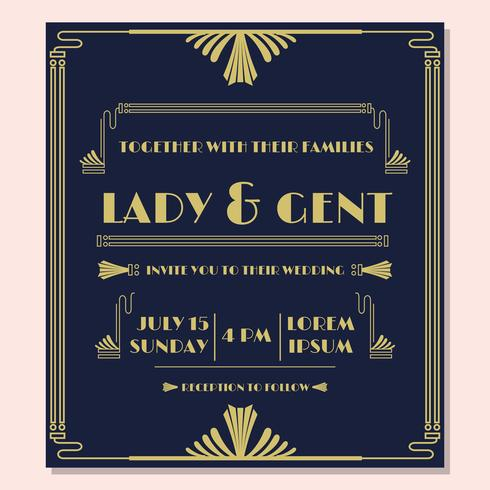 1920'S Wedding Invitation Vector