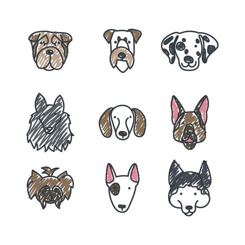 Visages de chien griffonné