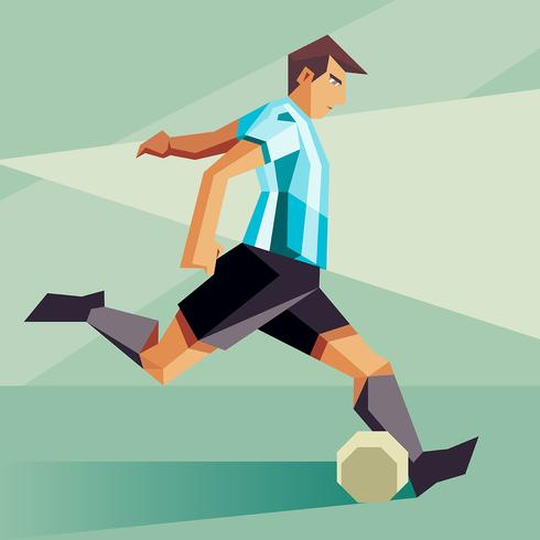 Argentina Soccer Players Vector Illustration