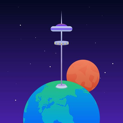 Awesome Space Elevator Vectors