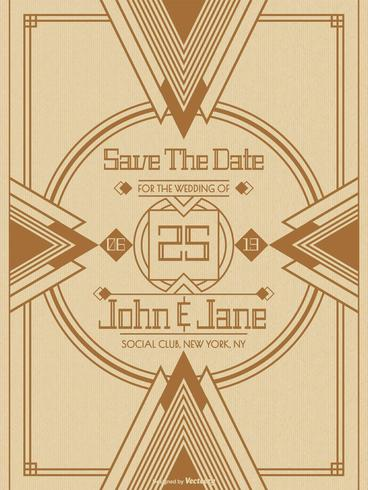 Art Deco Wedding Save The Date Card Vector Template Download Free
