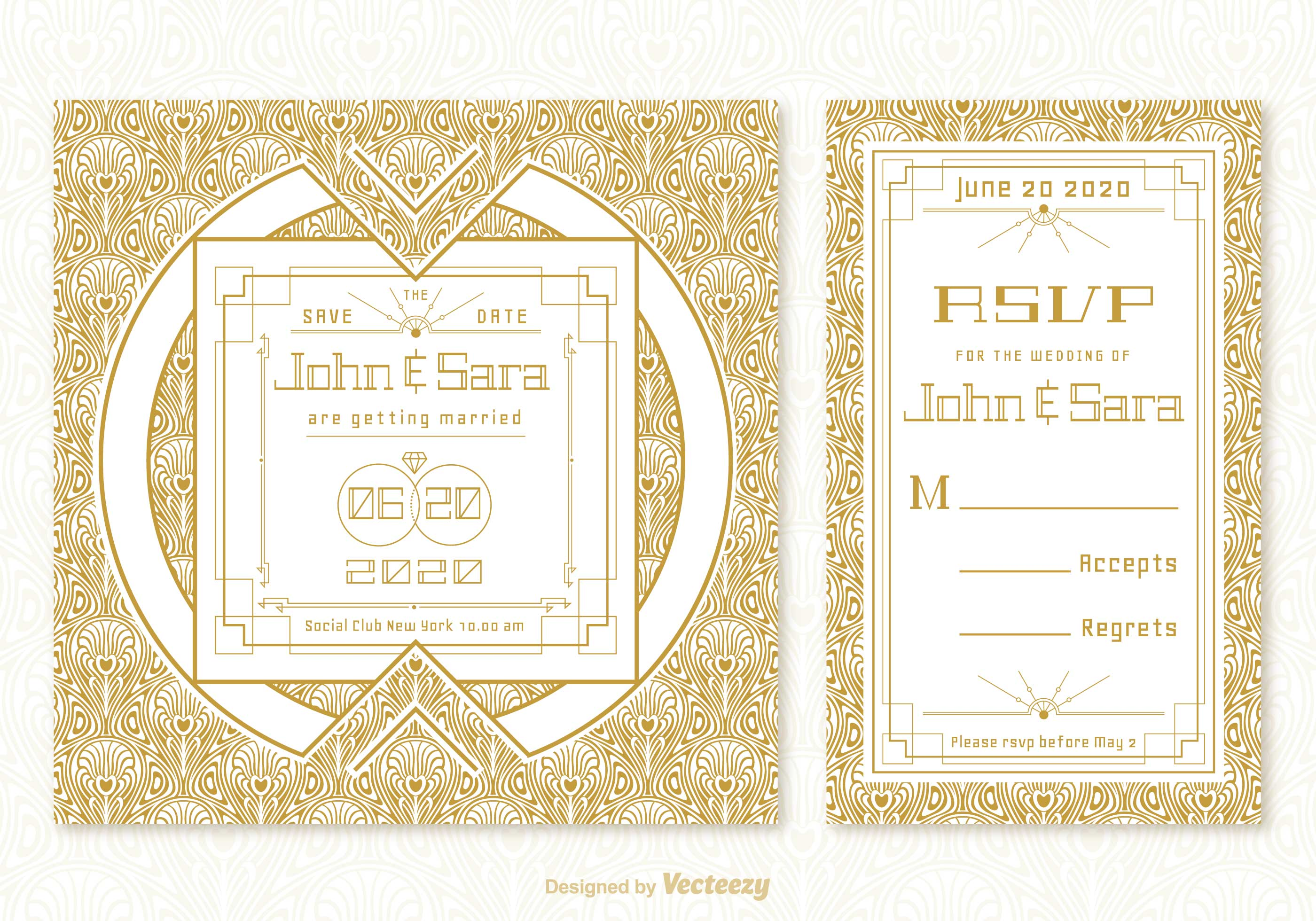 vintage art deco wedding card vector templates