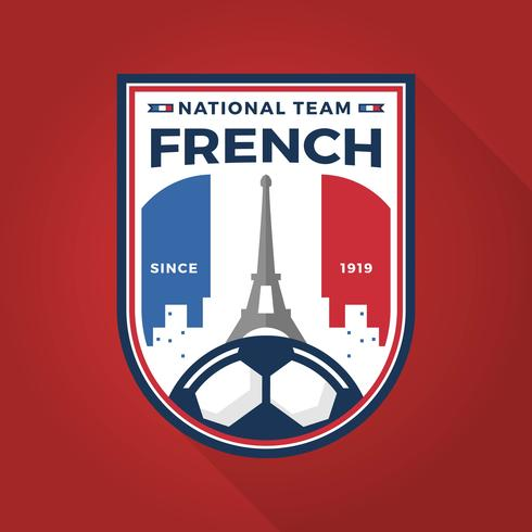 Flat Modern French Soccer Badge World Cup With Red Background Vector Illustration