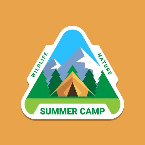 Camping Wilderness Adventure Badge Logo Design Gráfico