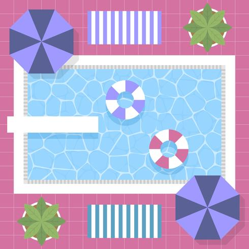 80s Style Vintage Graphic Swimming Pool Top View Design With Background