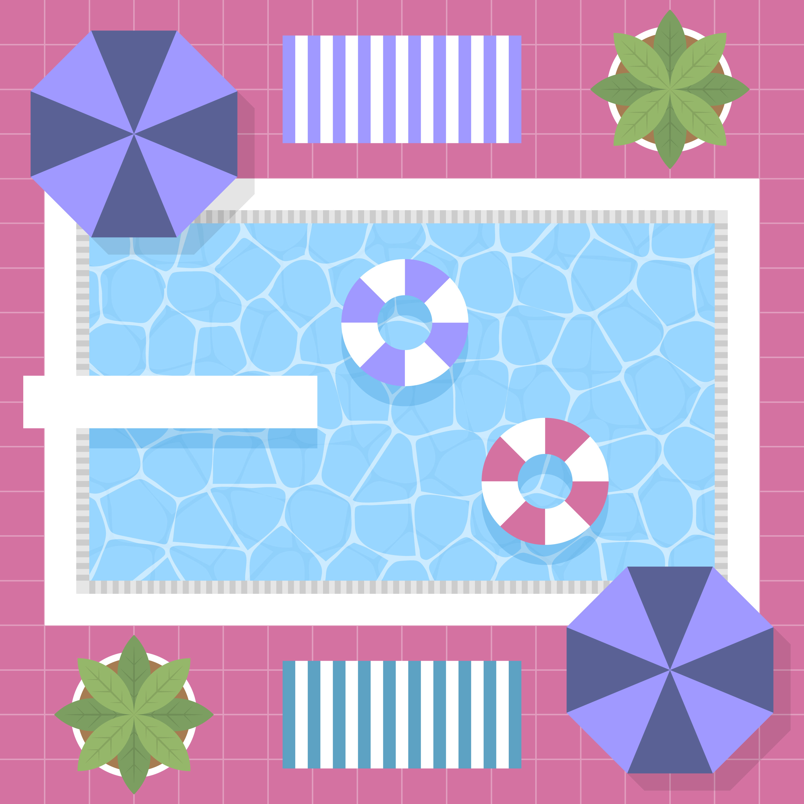 80s style vintage graphic swimming pool top view design
