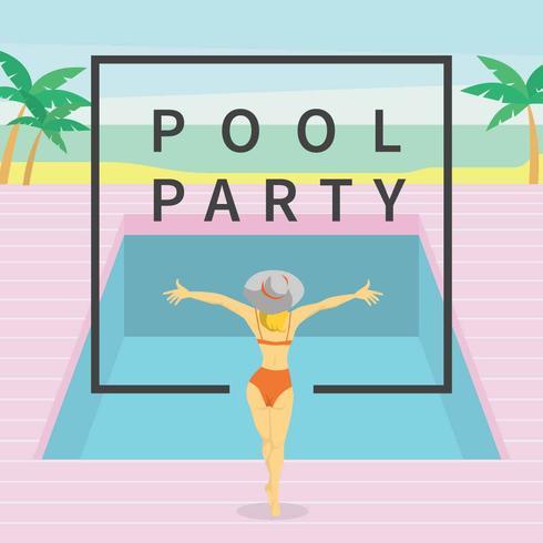 Vintage Women On Swimming Pool Illustration