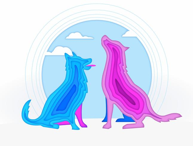 Abstract Dog Pop Up Paper Silhouette Vector Illustration