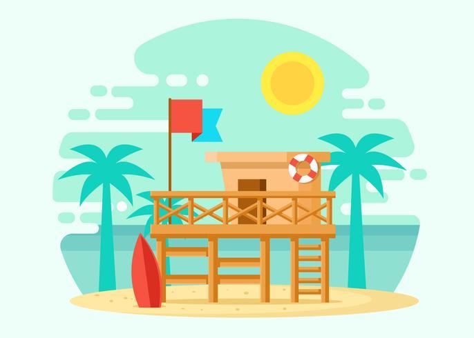 Wooden Lifeguard House Illustration