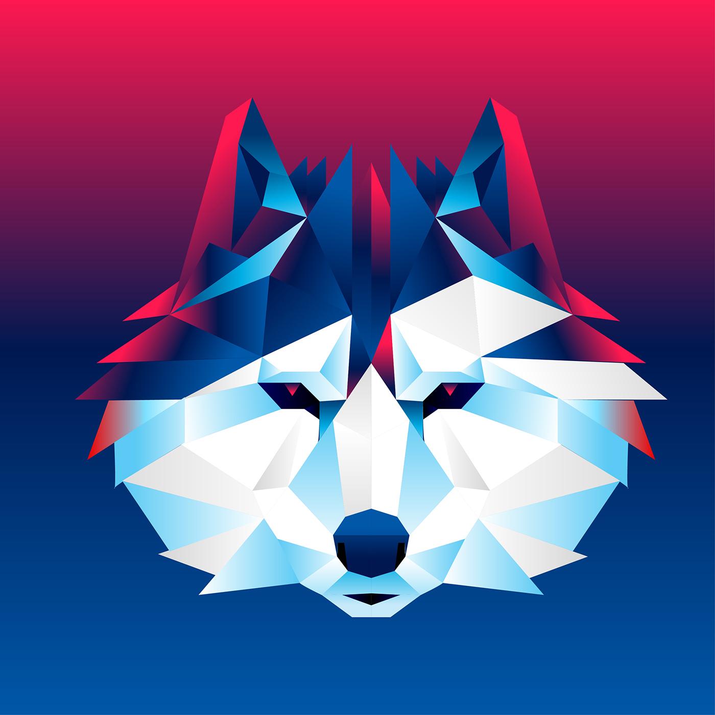 Dragon Logo Template Vector: Geometric Face Free Vector Art