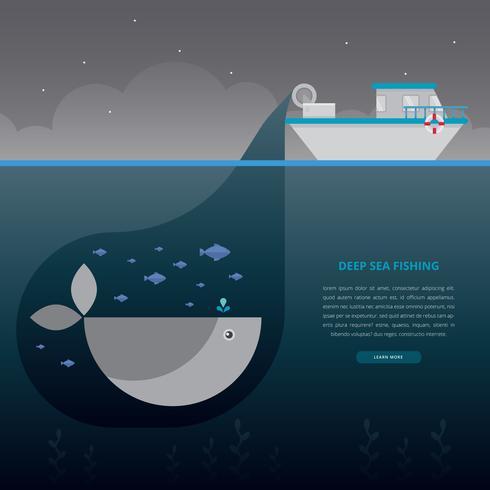 Deep Sea Fishing Illustration. Fishing Boat.