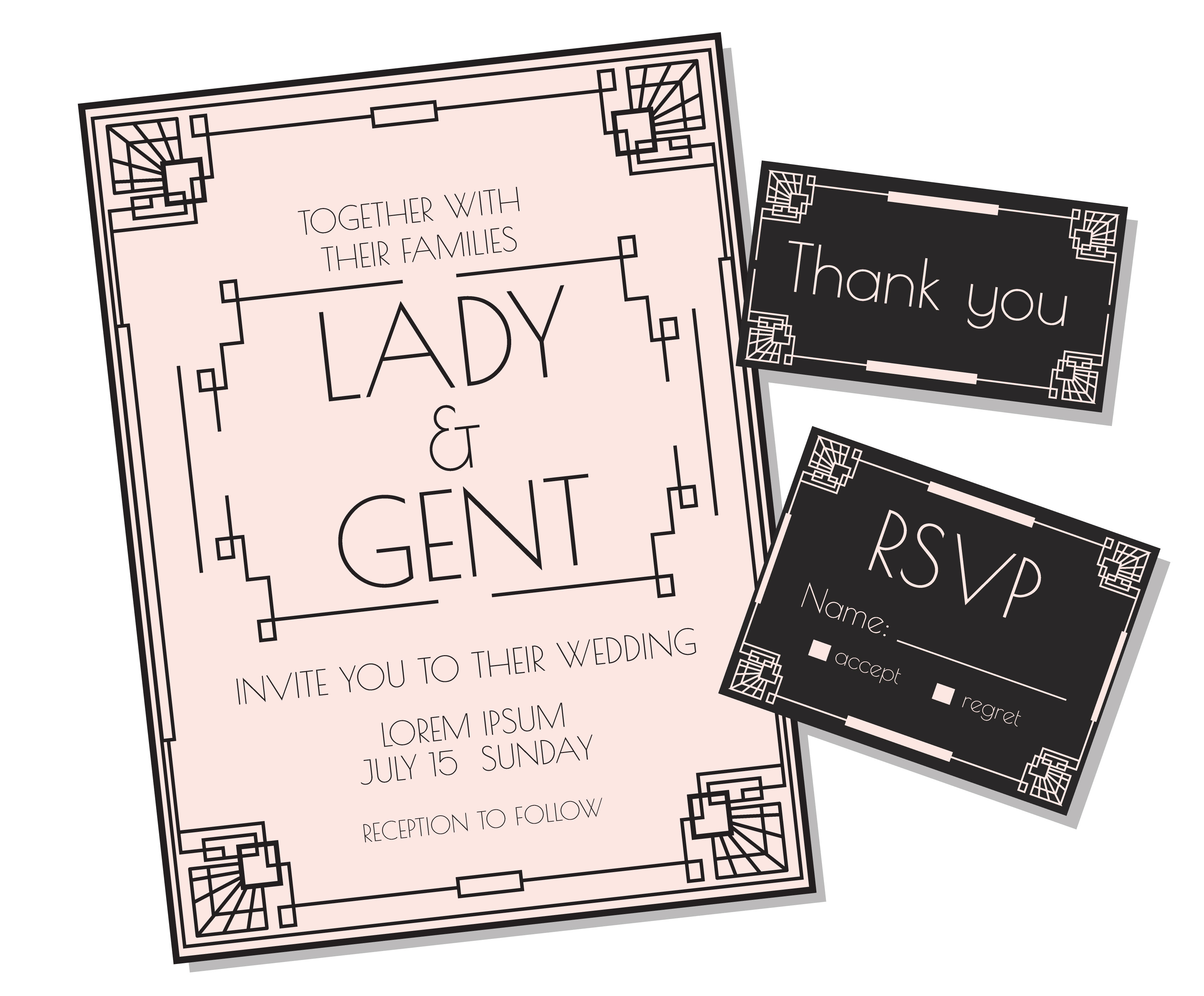 Vector Wedding Invitations: Soft Pink Art Deco Wedding Invitation Vector