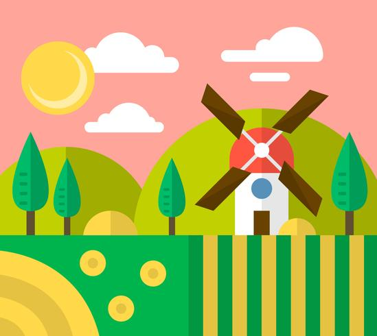 Flat Windmill vector