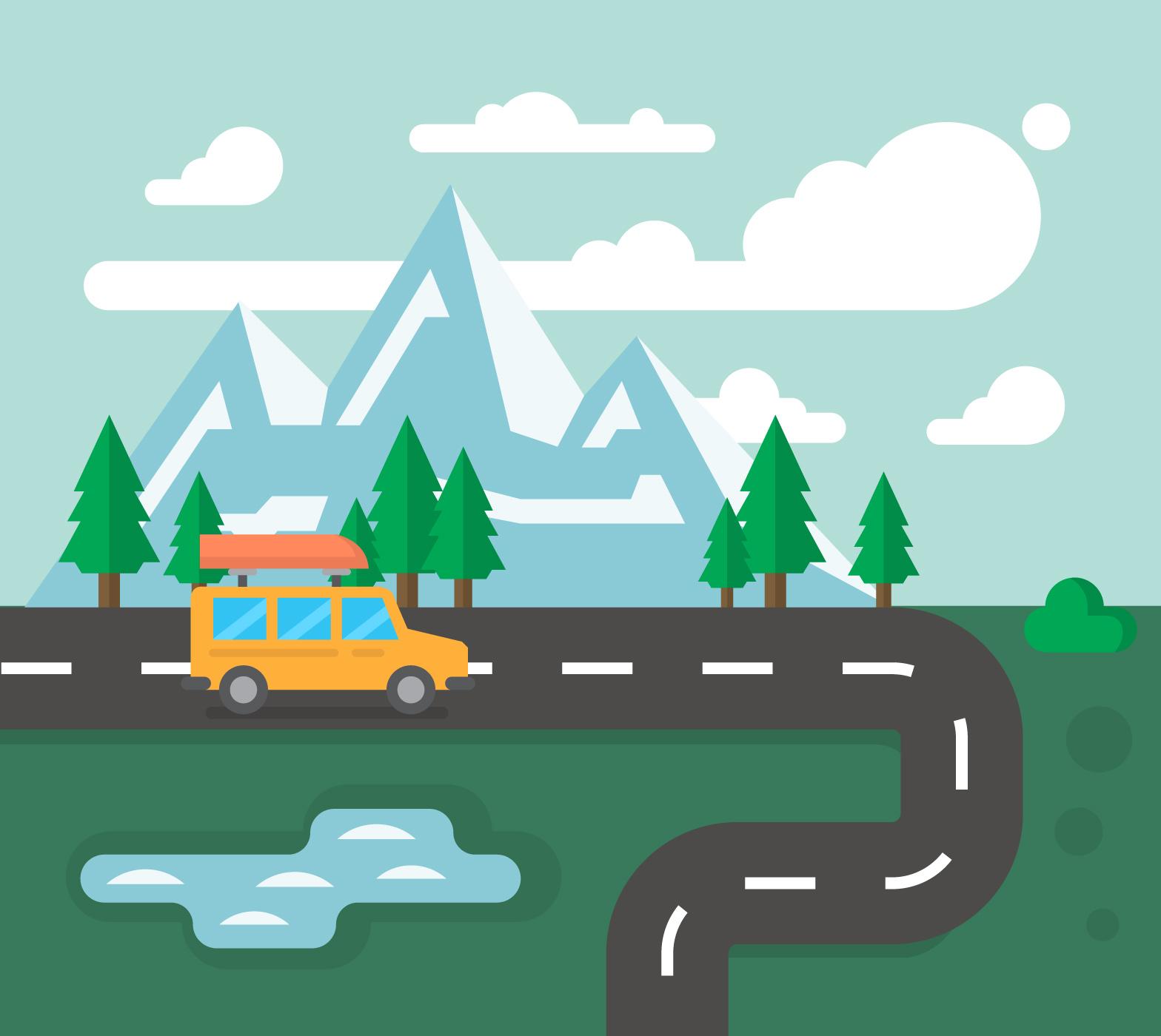 Family Road Trip Free Vector Art
