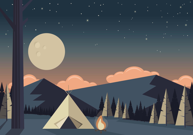 Landscape Illustration Vector Free: Vector Camping Landscape Illustration