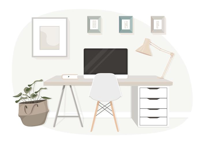 Vector Modern Office Desk Illustration