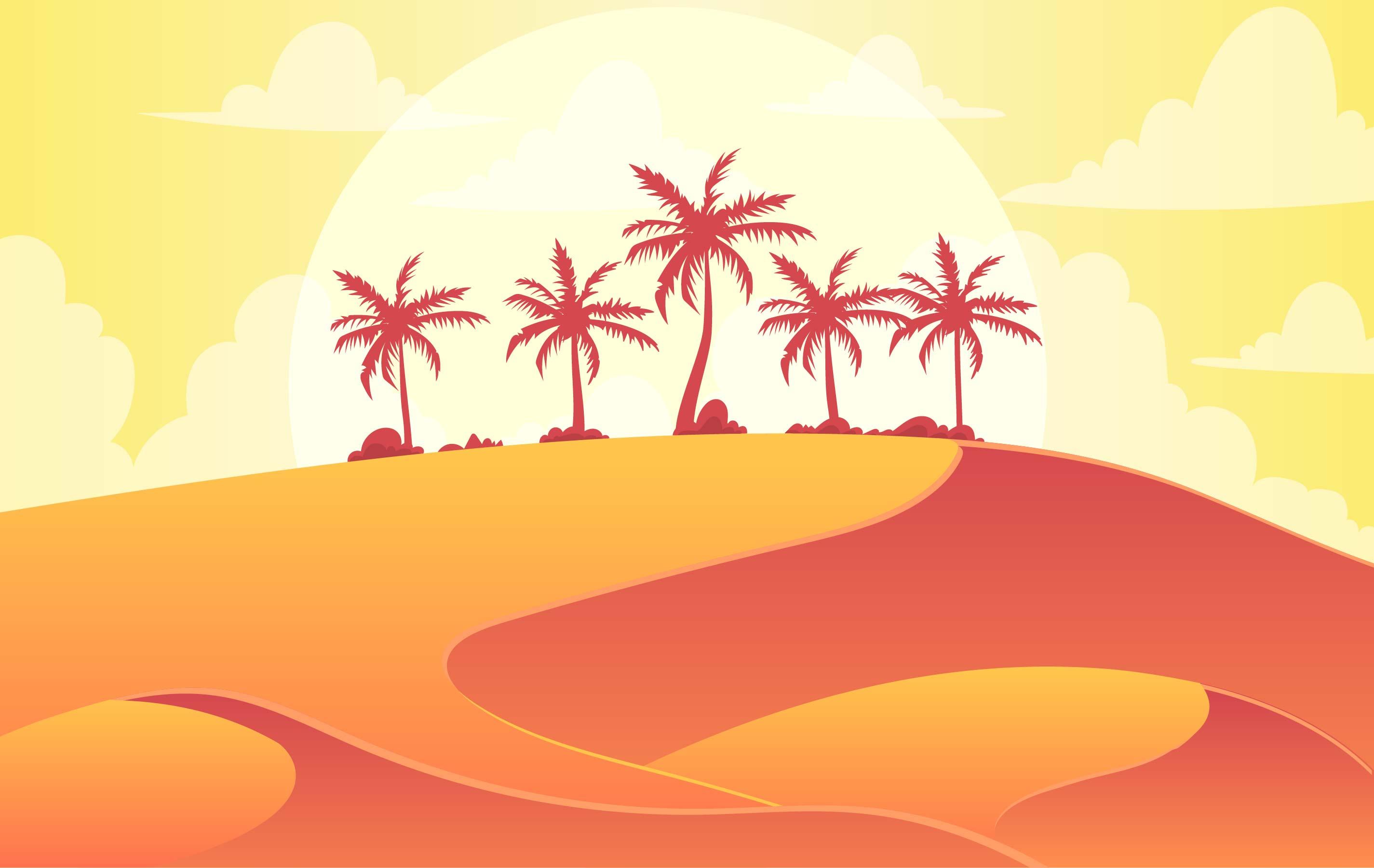Landscape Illustration Vector Free: Vector Desert Landscape Illustration