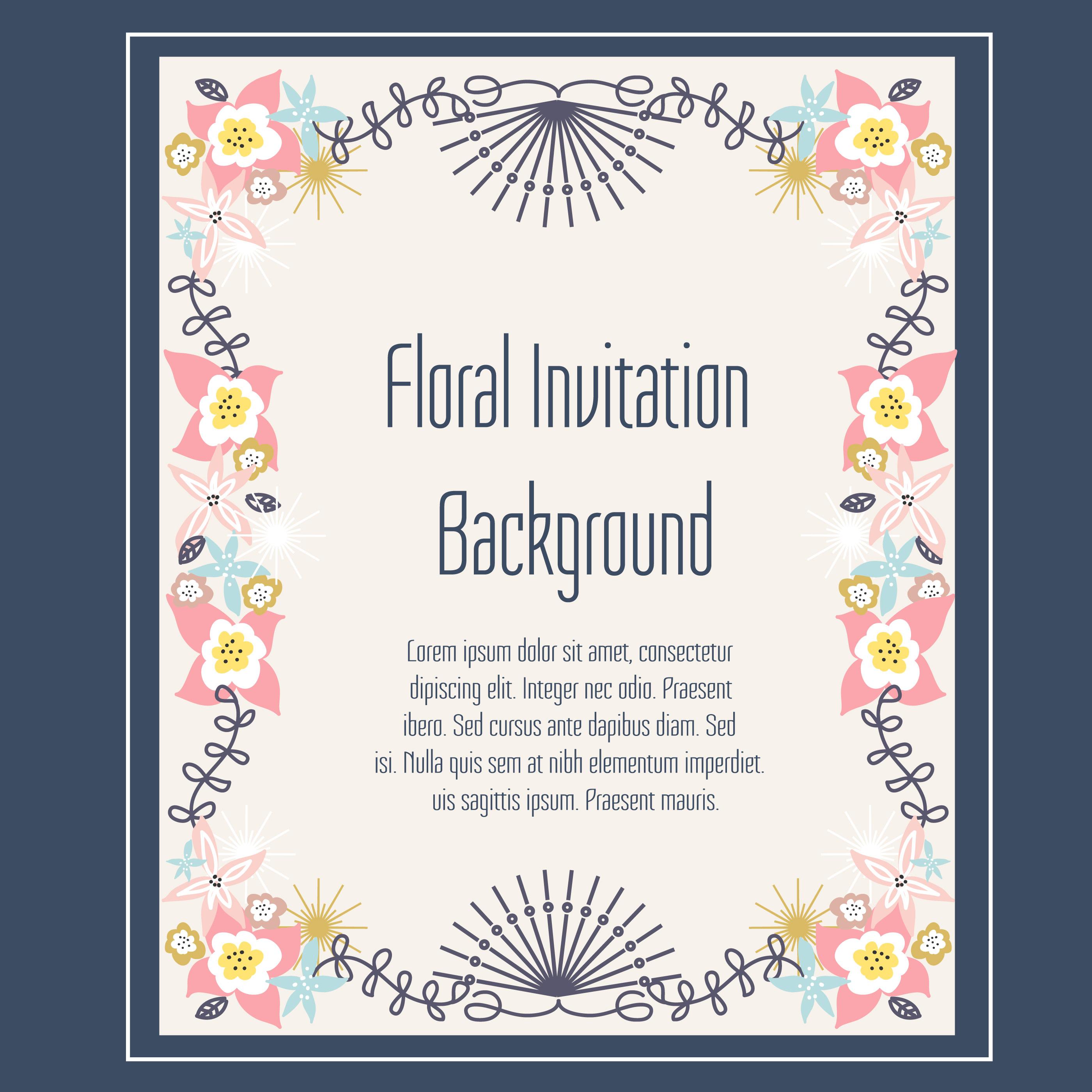 Floral Invitation Background Vector