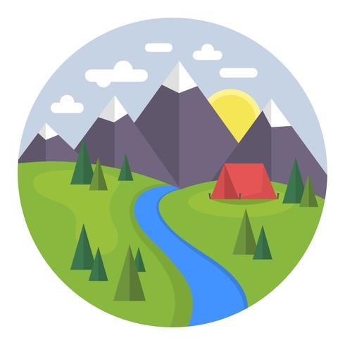 Flat Camping Landscape