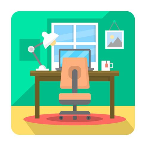 Flat Home Office vector