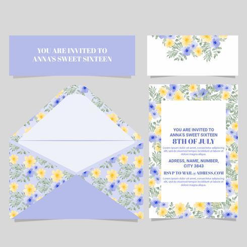 Cartão floral do doce dezesseis do vetor