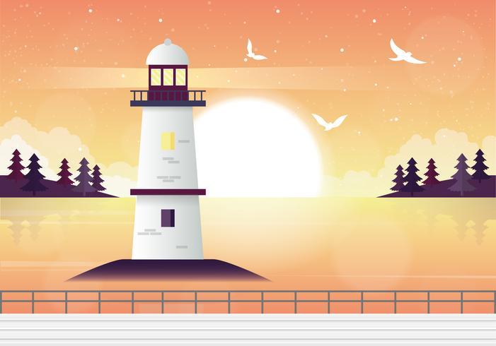 Illustration de paysage de phare de vecteur