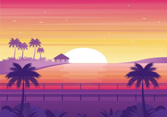 Vetorial, pôr do sol, paisagem, ilustração vetor