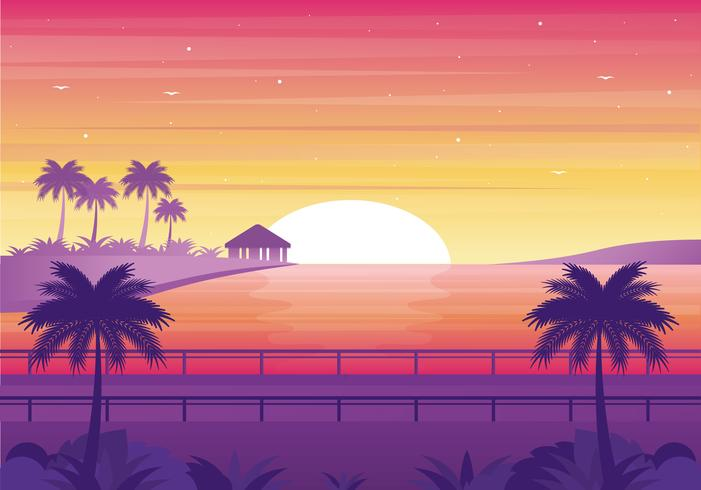 Vector Sunset Landscap...