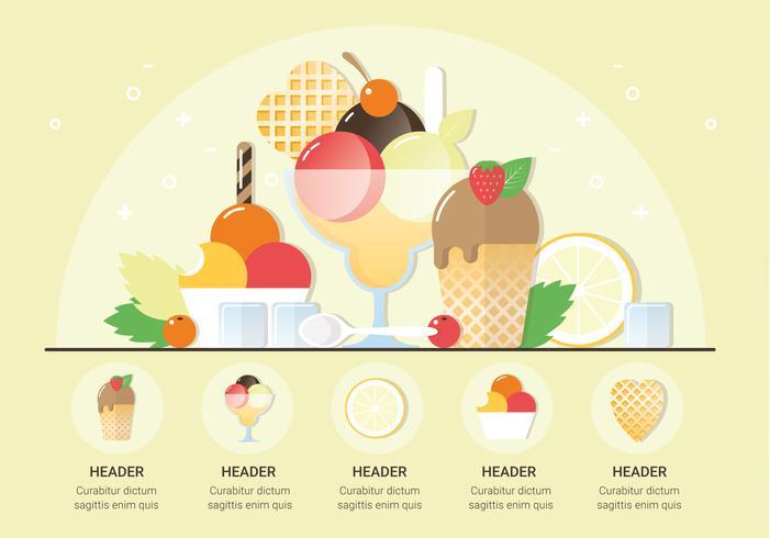 Vector Fresh Ice Cream Illustration