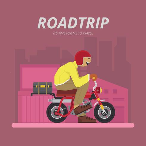 Road trip by Motorcycle Illustration