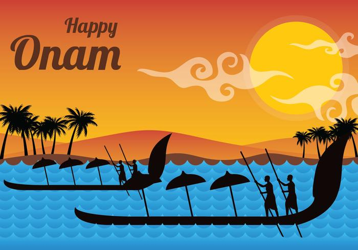Glad Onam Vektor Illustration