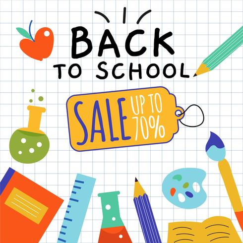 Hand Drawn Back to School Sale Vector
