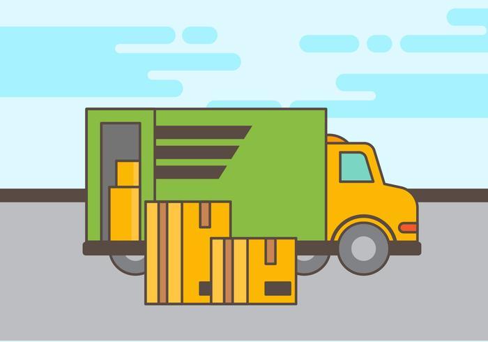 Bewegende vrachtwagen vectorillustratie vector