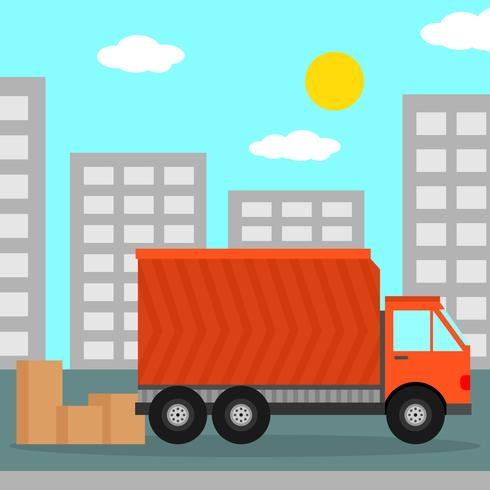 Home Relocation With Moving Truck Vector Illustration