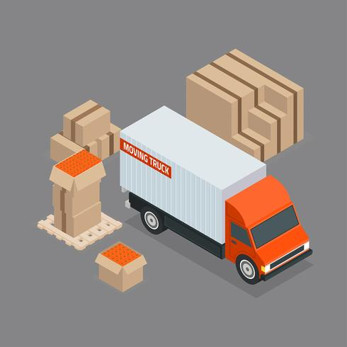 Moving Truck Isometric Vector