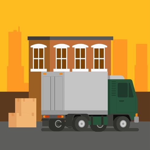 Moving Truck Loading Vector