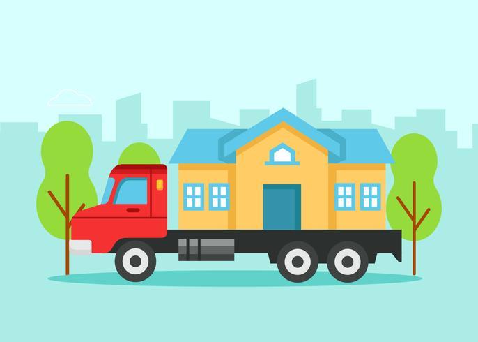 Casa em caminhão em movimento