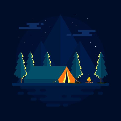 Night Camping On The Mountain Vector