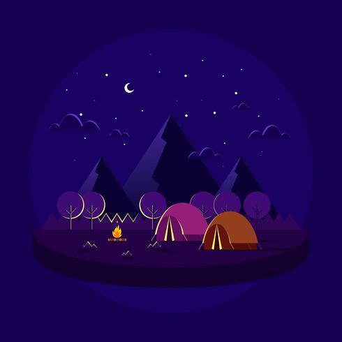Noite Camping Com Entourage Vector